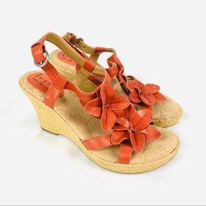 Boc by Born orange leather wedge floral sandals